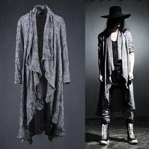 Image 1 - Lente Zomer Koreaanse Stijlvolle Grijs Zwart Extra Lange Pop Punk Vest Linnen Shirts Voor Mannen