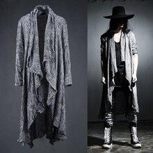 Primavera verão coreano elegante cinza preto extra longo pop punk cardigan camisas de linho para homem