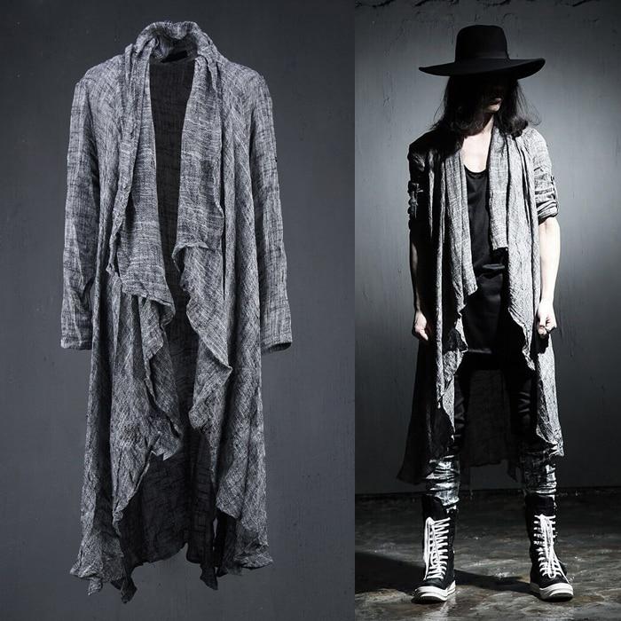 Spring Summer Korean Stylish Grey Black Extra Long Pop Punk Cardigan Linen Shirts For Men