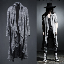 Spring Summer Korean Stylish Grey Black Extra long pop punk cardigan linen shirts for men