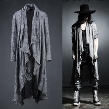 Frühling Sommer Koreanischen Stilvollen Grau Schwarz Extra lange pop punk strickjacke leinen shirts für männer