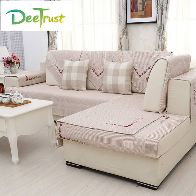 Japan Style Chic Sofa Cover Cotton Linen Embroidered Four Seasons .