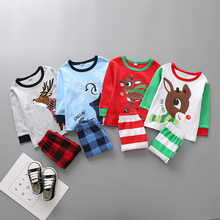 Children's pajamas clothing Set Boys & girls Cartoon Sleepwear Suit Set kids long-sleeved+pant 2piece baby clothes(China)