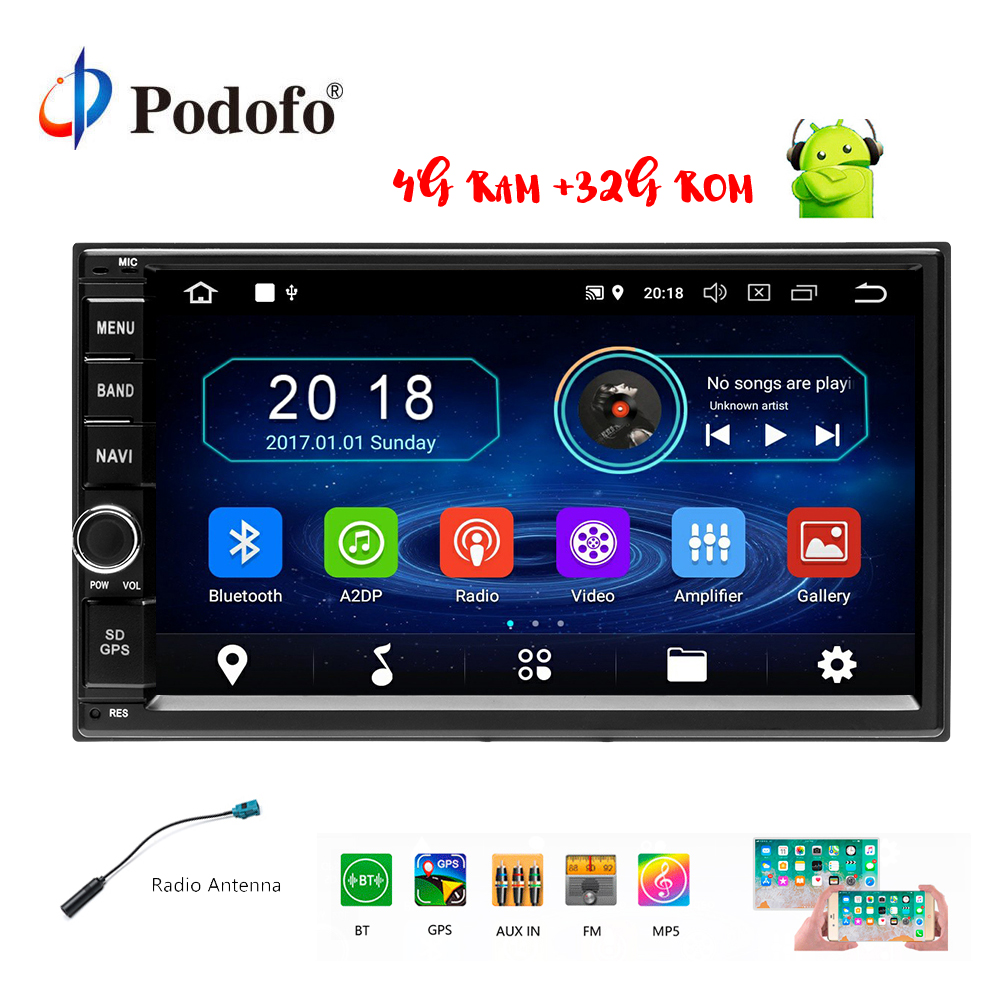 Podofo 7 Android 8.0 Octa Core 4g + 32g 2Din Voiture Audio Stéréo GPS de Navigation Radio De Voiture multimédia FM/RDS/WIFI/OBD/DVR Autoradio