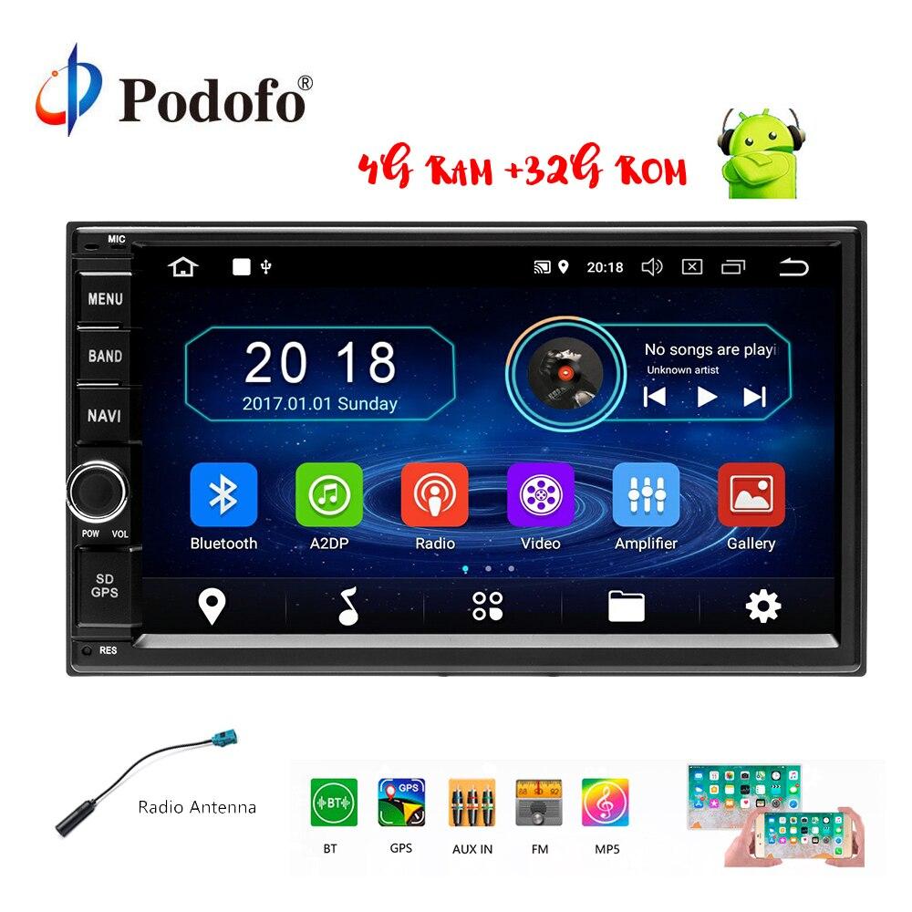 Podofo Android 8.0 2 Rádio Do Carro um Din 7