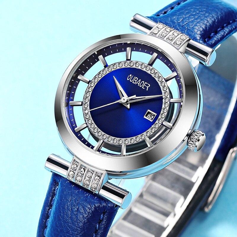 OUBAOER Ursprüngliche Montre Femme Kleid Uhr Frauen Luxus Damen Uhren Echtes Leder Armbanduhr für frau Weiblich Relogio Reloj