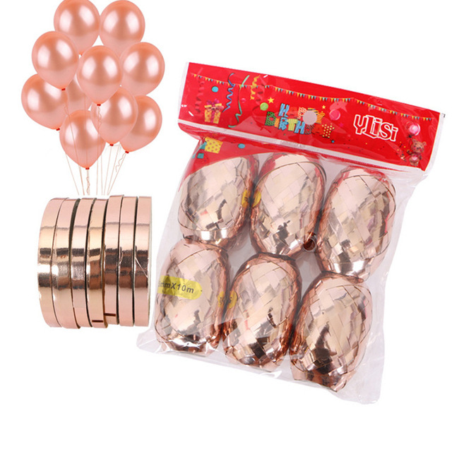 6pcs/bag White Rose Gold Ribbon 10 meters Long Foil Latex Balloons Wedding Birthday Party Decor Helium Balls Accessories Gifts