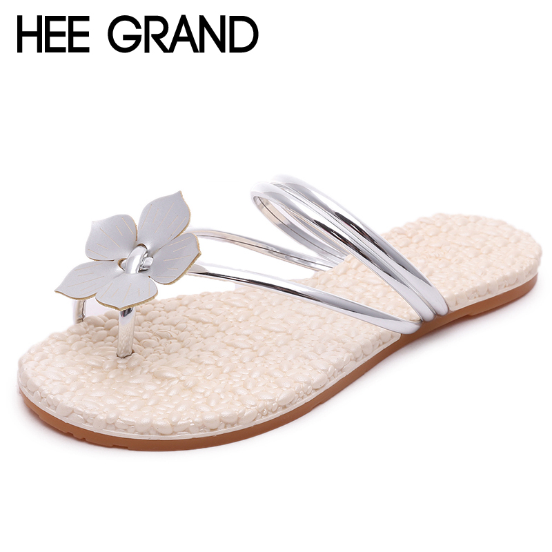 HEE GRAND Flower Beach Slippers 2018 Slip On Gold Sliver Slides Casual Shoes Woman Soft Flats New Creepers Size 35-41 XWZ4738 hee grand summer gladiator sandals 2017 new platform flip flops flowers flats casual slip on shoes flat woman size 35 41 xwz3651