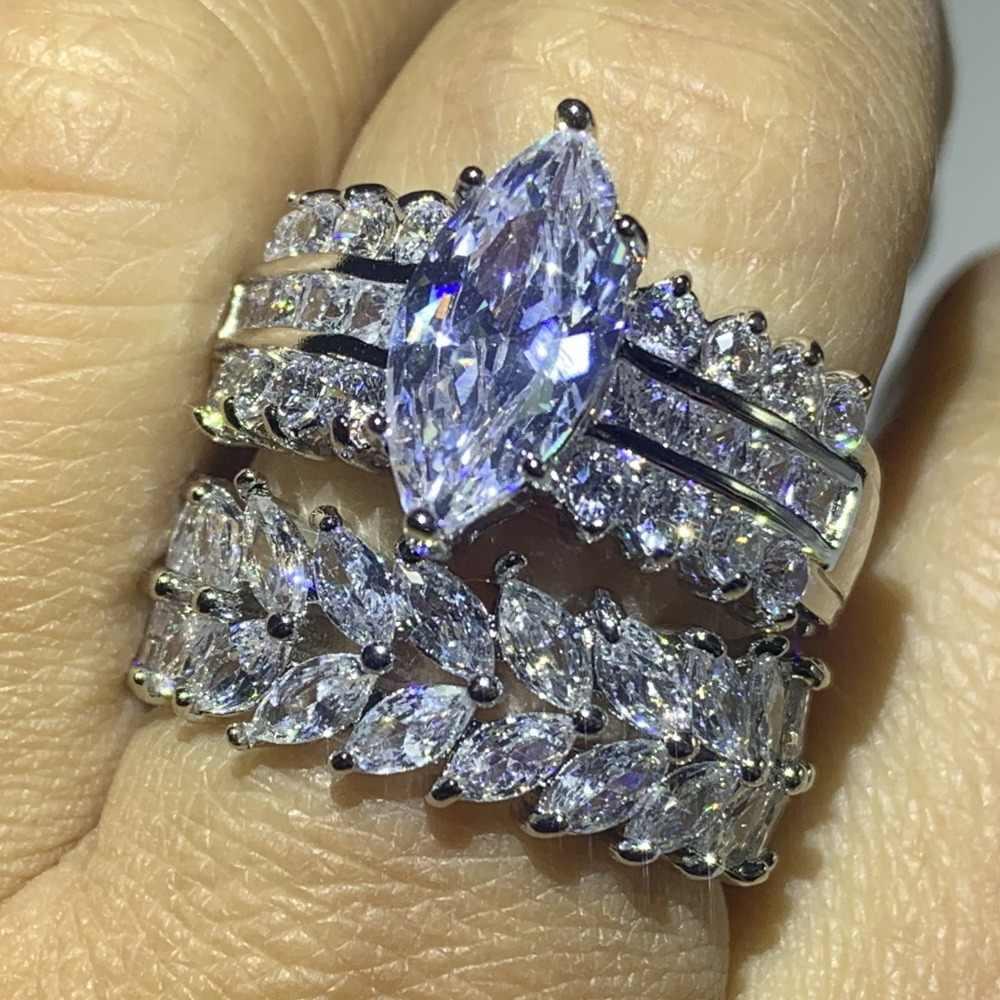 Скидка 90% супер предложение Потрясающие Роскошные ювелирные изделия 925 пробы Серебряная маркиза 5A CZ цирконий Прямая поставка свадебный набор колец