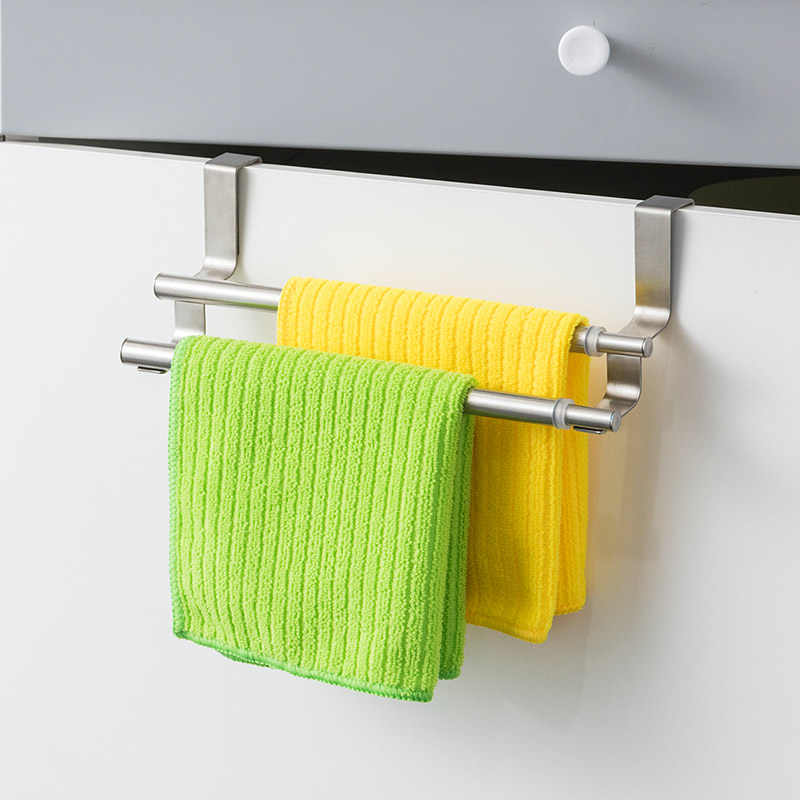 Orz Kitchen Towel Holder Expandable Bathroom Towel Bar Stainless Steel Storage Hanger Rack Door Hook Shelf Bathroom Organizer