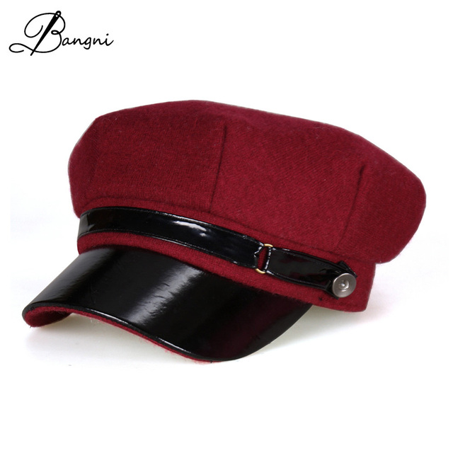 70a48279d4f 2017 Winter Wool Felt Military Hat Beret Cap Navy Hats Snapback Visor Black  Berets Hats for Women Men Warm Painter Flat Top Caps