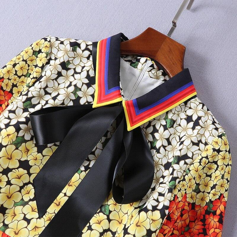 Automne Robe Midi Arc À Femmes Vintage Manches Plissée Nouveau Imprimé Floral Rouge Longues Printemps Mode 2018 Qyfcioufu De Mince Piste x0wRq6tzzU
