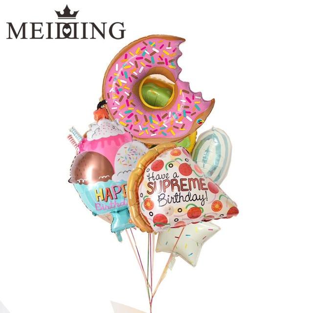 1 piezas Feliz cumpleaños globo hamburguesa Lollipop/pizza Globos decoración de la fiesta de cumpleaños de los niños, regalo de helio Globos de la Ducha del bebé globo