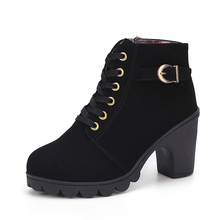 COZULMA Women Shoes 2019 Autumn Winter  High Heels Ankle Boots Ladies Fashion Lace-Up Woman Size 35-41