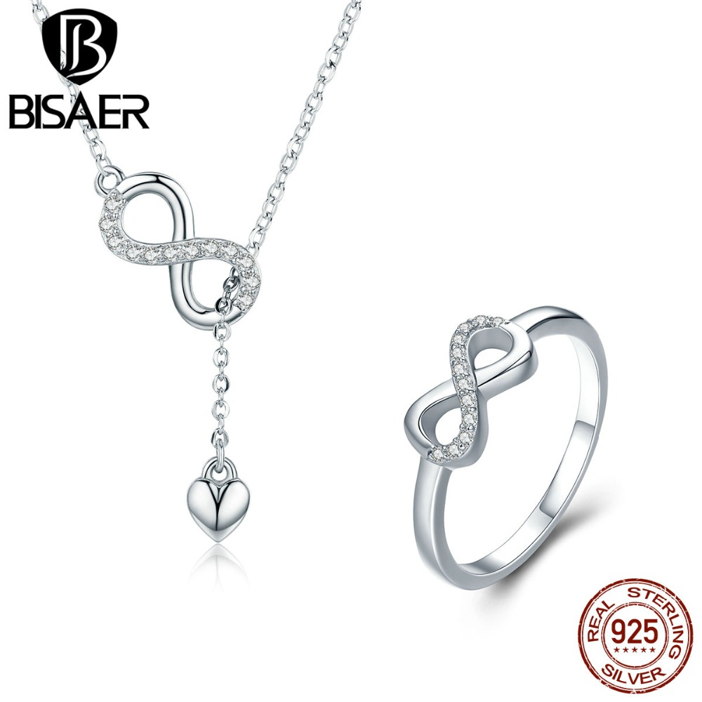 BISAER Ture 925 Sterling Silver Metal Y Pattern Necklace Geometric Infinity Love Jewelry Set for Women Luxury Fine Jewelry