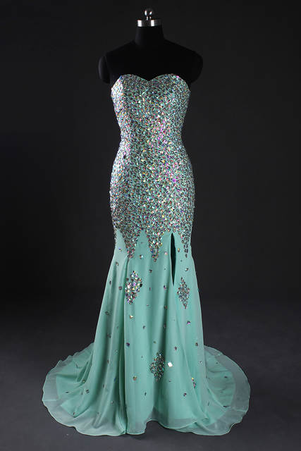 placeholder Real Sample Mint Green Crystal Rhinestone Heavy Beaded Sparkly  Mermaid Prom Dress High Slit Long Formal b6c7cc47b2a4