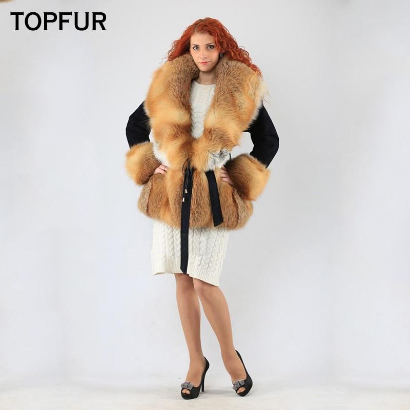 TOPFUR New Style Real Fur Coat Women 2018 Winter Genuine Rex Rabbit Fur Jacket With Gold Fox Fur Collar Thick Warm Female Coat