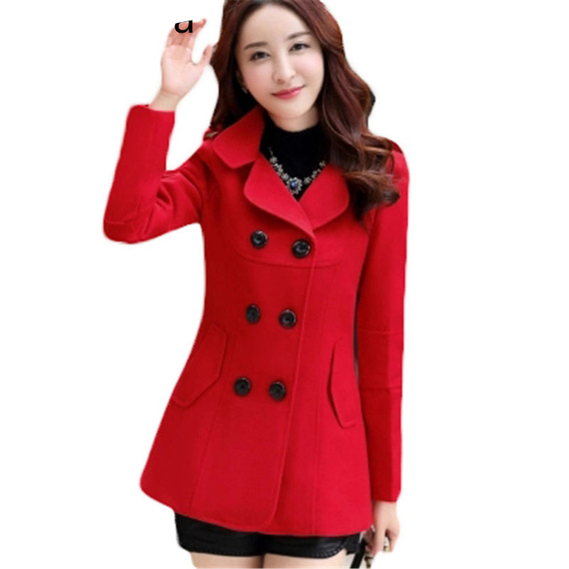 8 Color Coat Female 2017 New Autumn Winter Women's Wool Coat Casual Slim Double-breasted Long Trench Coat For Women L218
