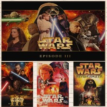 Classic Movie Vintage Star Wars Episode III - Revenge of the Sith Poster Kraft Paper Bar Home wall Decor Painting Wall Sticker цена