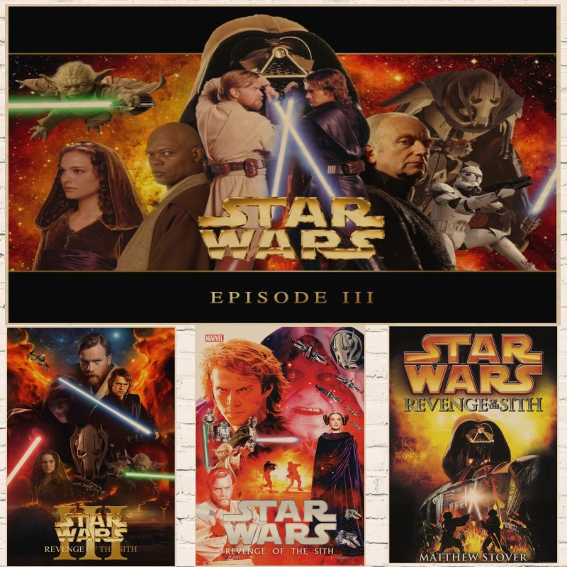 Classic Movie Vintage <font><b>Star</b></font> <font><b>Wars</b></font> <font><b>Episode</b></font> <font><b>III</b></font> - Revenge of the Sith Poster Kraft Paper Bar Home wall Decor Painting Wall Sticker