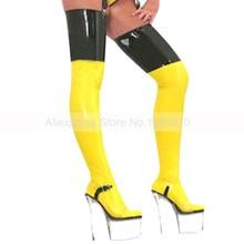Желтые и черные латексные чулки по индивидуальному заказу S-LA078