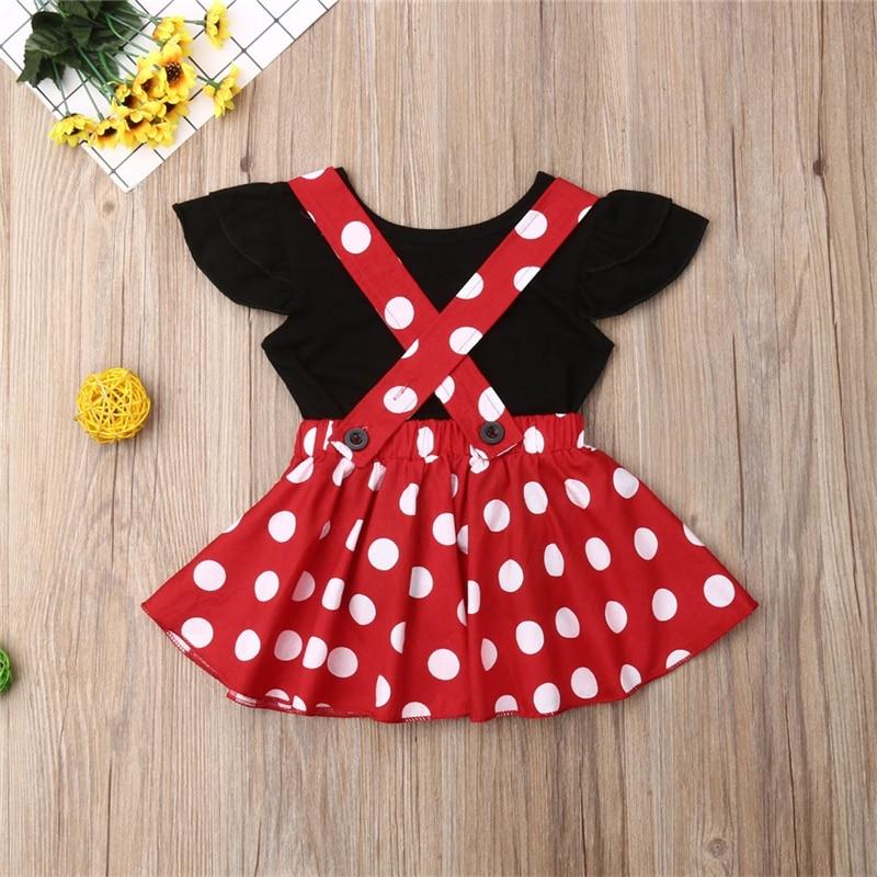 Комплект одежды для маленьких девочек, Однотонная футболка в горошек с юбкой на подтяжках, летняя одежда для маленьких девочек, 2019