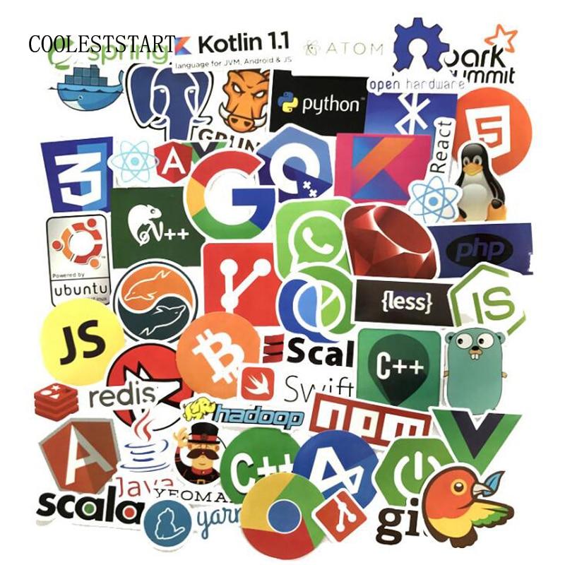 50 Pcs Internet Java JS Php Html Cloud Docker Bitcoin Programming Language APP Logo Cool Stickers For Laptop Car DIY Stickers