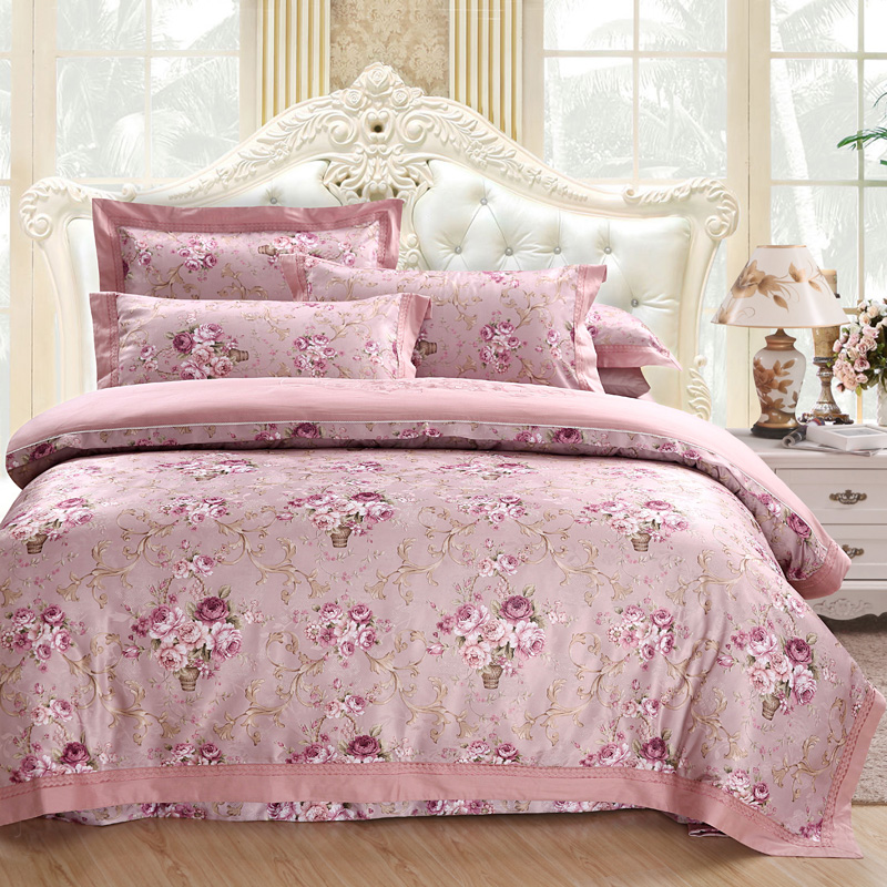 Pink Purple Bedding Set Queen King Size Bed/Fitted Sheet Set 100%Cotton Bed Set Duvet CoverPink Purple Bedding Set Queen King Size Bed/Fitted Sheet Set 100%Cotton Bed Set Duvet Cover