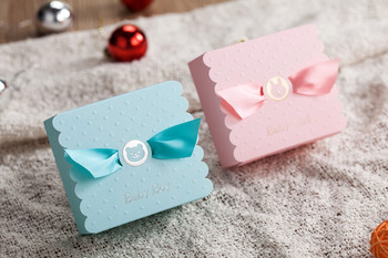 Wishmade Blue and Pink Square Wedding Candy Boxes Favors Boxes Decorations Gifts Boxes Baby Shower Wedding Party Supplies 100pcs