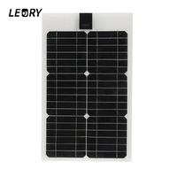 LEORY 12V 20W Semi flexible Solar Panel Monocrystalline Solar City Chip With 300cm Cable Suitable For Car/RV/Boat/Ship Batteries