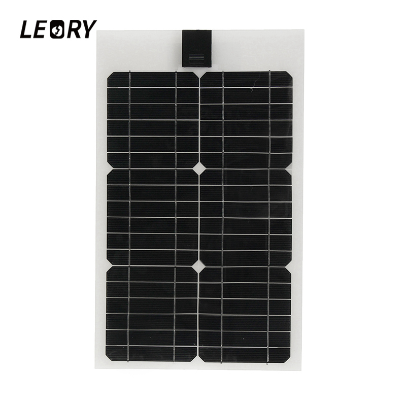 LEORY 12V 20W Semi-flexible Solar Panel Monocrystalline Solar City Chip With 300cm Cable Suitable For Car/RV/Boat/Ship Batteries