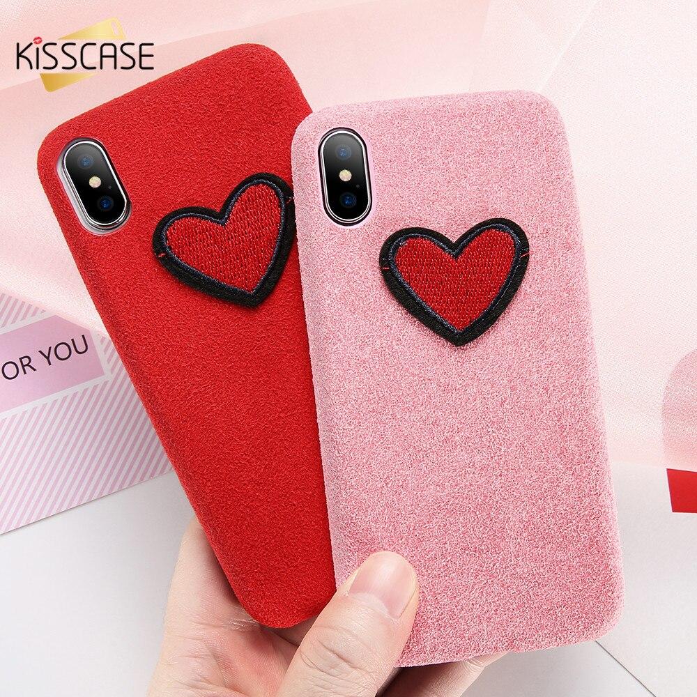 KISSCASE Couple Case For iPhone X 10 Coque For iPhone 6 7 8 plus Cover Fiber Super Thin Soft Silicone Case Vintage Plain Cases