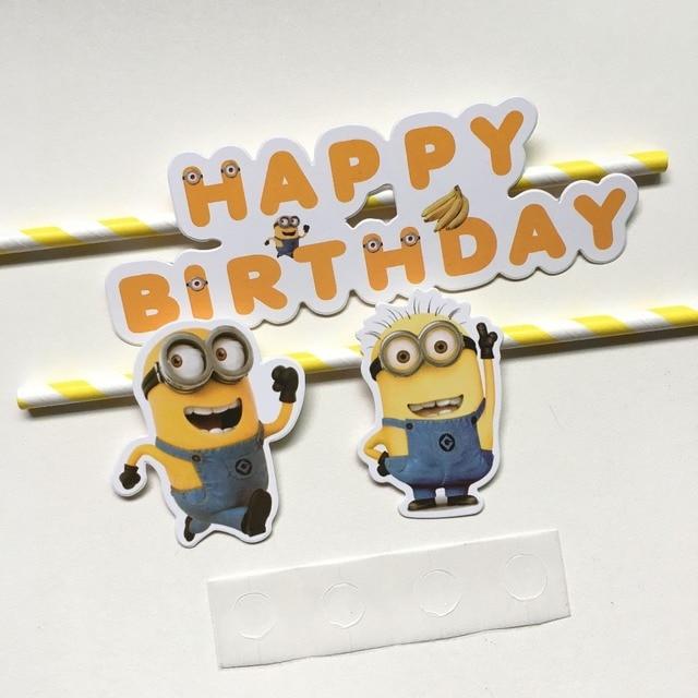 Le célèbre 30 Ensembles Jaune Minions thème de gâteau de joyeux anniversaire &XA_29