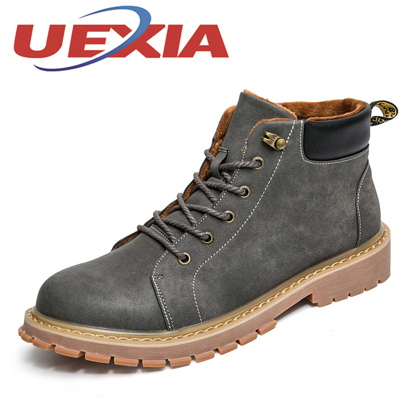 Winter Mens Casual Warm Shoes Outdoor Fashion Pu Leather Ankle Boots British Style Martin Boots Men Comfortable Work Shoes Botas