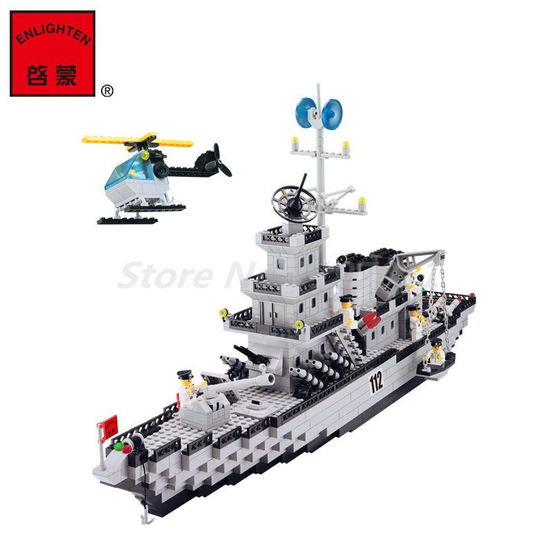 Enlighten 112 Military Cruiser Building Blocks Set Model 970pcs Bricks Educational DIY Construction Toys for Children Gifts kids educational toys 102pcs set sweeper model assembly building blocks kit enlighten puzzle toy children birthday gifts