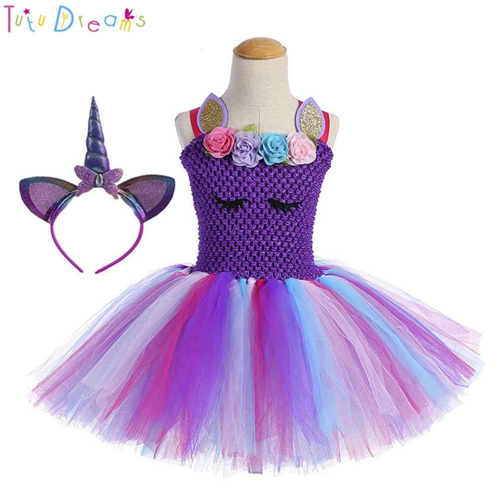2c73e326b5d9 High Quality Girl Unicorn Birthday Tutu Dress and Headband Fluffy Flowers  Girls Theme Party Tulle Dresses