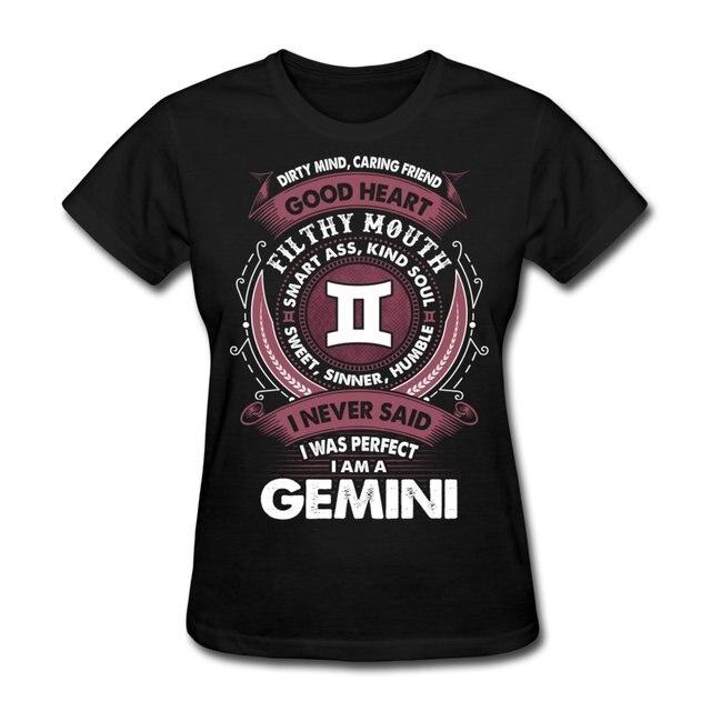 Women s Tee Gemini Zodiac Signs Never Perfect Funny Slogan Women s T-shirt  Print T Shirt Women Hipster Harajuku Shirt Funny Angel Grunge