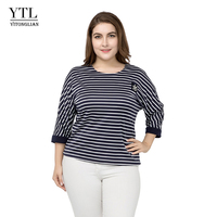 YTL Womens Plus Size Clothing Autumn 3/4 Sleeve Vintage Striped Patchwork Casual T shirt Loose Tunic Tops T Shirt Women Tops Z15