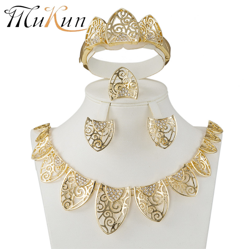 Mukun Fashion Femme Parure Bijoux Turkish Jewelry Bisuteria Gold Color Hollow Out Necklace Earrings Sets Wedding Jewelry Set To Prevent And Cure Diseases Jewelry Sets Jewelry & Accessories