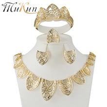 MUKUN Fashion femme Parure bijoux Turkish jewelry Bisuteria gold color hollow out Necklace earrings sets Wedding set
