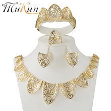 MUKUN Fashion femme Parure bijoux Turkish jewelry Bisuteria gold color hollow out Necklace earrings sets Wedding jewelry set(China)