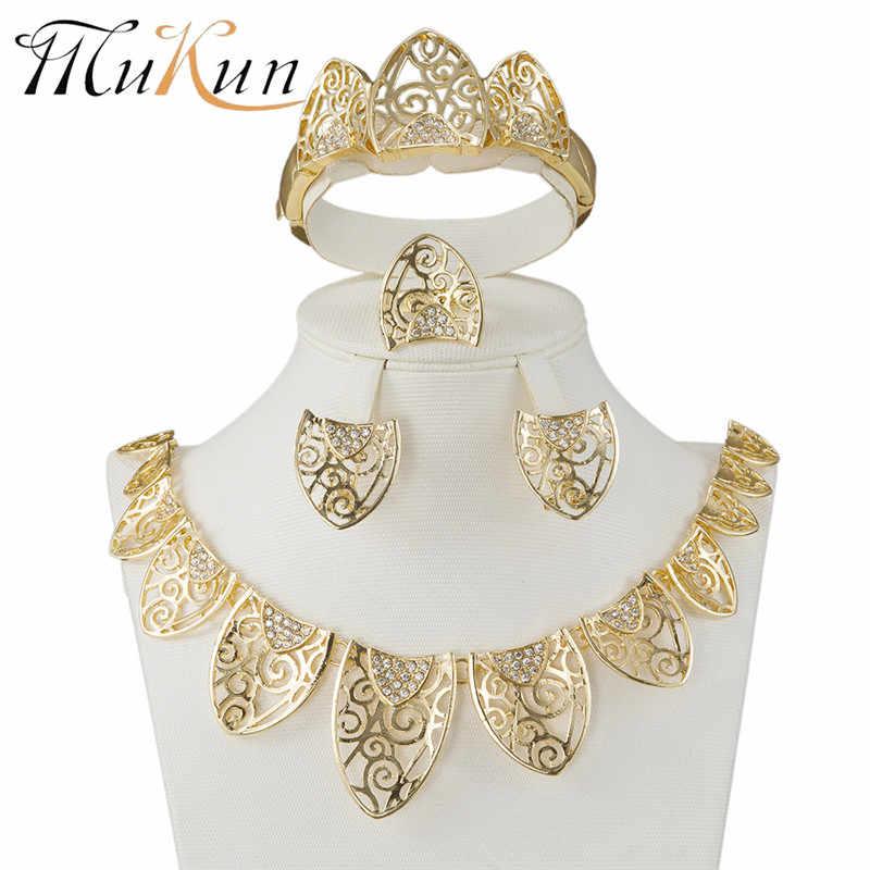 MUKUN Thời Trang Femme Parure BIJOUX Thổ Nhĩ Kỳ trang sức Bisuteria vàng màu Rỗng ra bông tai Vòng Cổ bộ Cưới Bộ trang sức