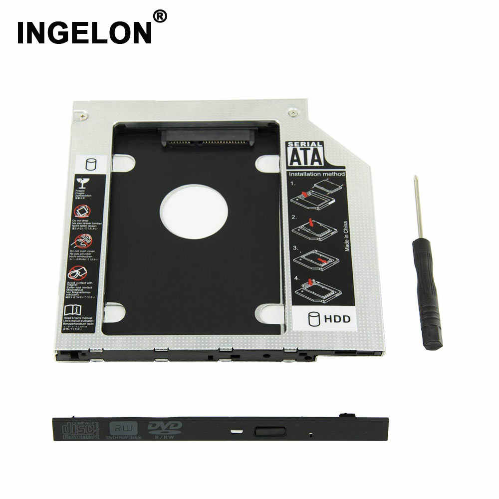 Caso hdd segundo Caddy HDD optibay Ingelon DVD SSD Laptop Universal CD/DVD-ROM Optical Bay para A Apple Unibody Macbook pro 13 15 17