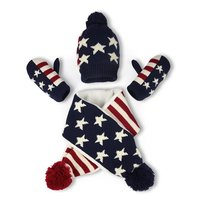 kids children Knitted Hat Scarf And Gloves 3pcs winter set American flag pattern