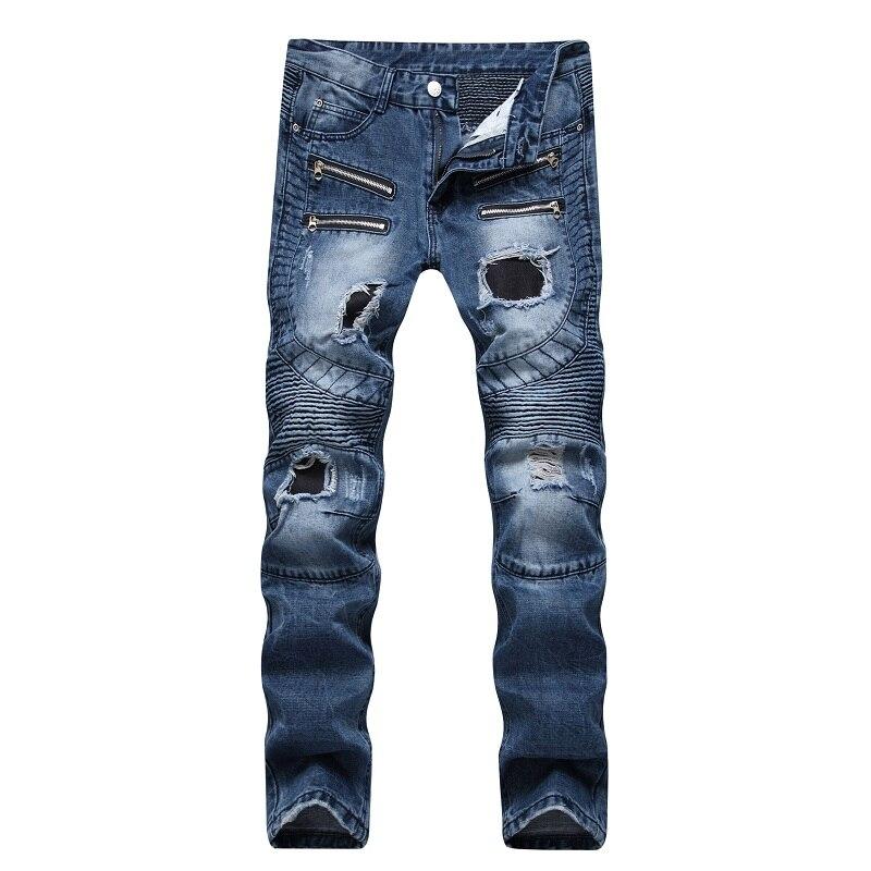 2017 Men Jeans Washed Blue Moto Ripped Zipper Punk Denim Pants Rider Biker Jeans Retro Motorcycle Hip Hop For Slim Fit Pants 2017 new biker men s zipper ripped jeans men slim fit straight moto punk dark long pants mens jeans pleated holes blue pants