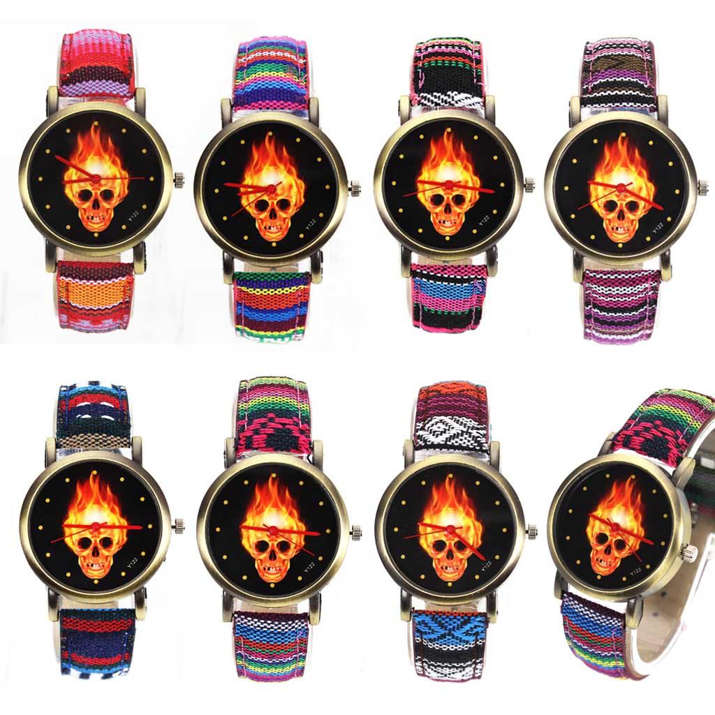 Tűz forró sötét égő koponya csontváz dial órák nők férfiak - Férfi órák - Fénykép 6