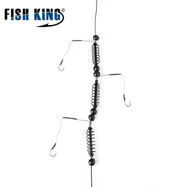 FISH KING Fishing Artificial Lure Bait Cage Feeder 1pcs Carp Fishing With Lead Sinker Swivel with Line Hooks For Fish Tackle Кормушка