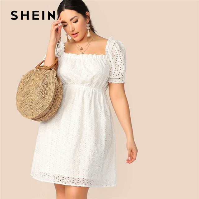 SHEIN Plus Size White Frill Trim Schiffy Solid Summer Dress 2019 Women Square Neck High Waist Shift Short Bohemian Dresses