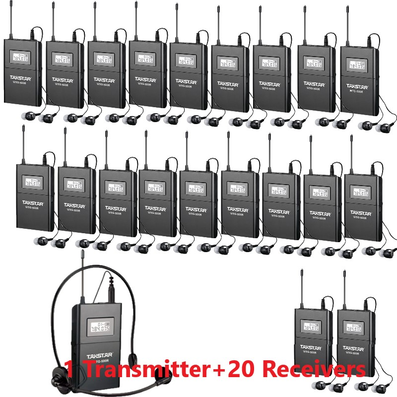 Takstar WTG 500 WTG 500 UHF Wireless Tour Guide System 6 selectable channels 100m operating range