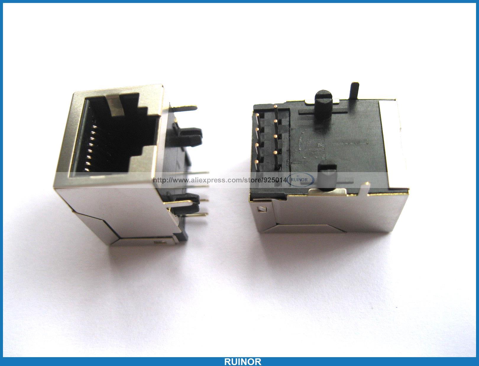 50 Pcs RJ45 Modular Network PCB Jack 59 8P LAN Connector 24 pcs rj45 modular network pcb jack 56 8p w led 4 ports